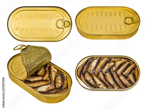 Set of tin jar of canned golden smoked Baltic sprats in vegetable oil Canvas-taulu
