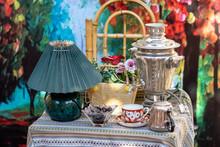 Traditional Russian And Georgian Samovar Tea On Table. Tea Time.