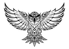 Vector Hand Drawn Flying Owl T...