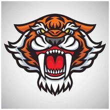 Tiger Saber Tooth Head Logo Ve...