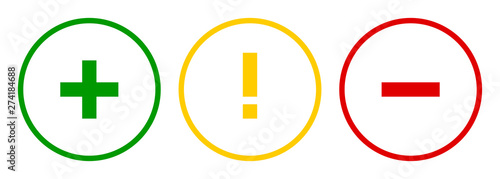 Photo  Set of round plus sign, exclamation point, minus sign icons, buttons on white background
