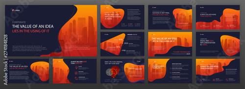 Fototapeta Business powerpoint presentation templates set. Use for keynote presentation background, brochure design, website slider, landing page, company profile layout. obraz