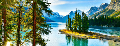 Photo Stands Trees Beautiful Spirit Island in Maligne Lake, Jasper National Park, Alberta, Canada