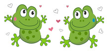 Frogs In Love, Vector Illustration. Eps