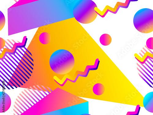Fotografie, Obraz  Geometric seamless pattern with liquid gradient on a white background