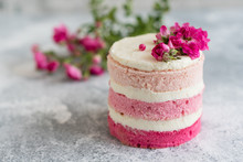 Beautiful Pink Cream And Berries Cake On A Light Concrete Background. Birthday Celebration