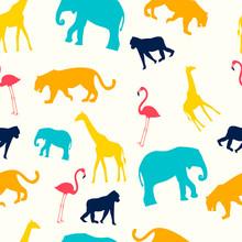 Childrens Seamless Pattern. Animals Are Giraffe, Flamingo, Monkey, Elephant And Lion. In Minimalist Style. Cartoon Flat