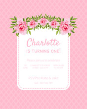 Pink Baby Girl Birthday Invitation Card Is Turning One With Flowers And Text, Vector Vector Illustration