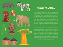 Travel To Africa Banner Template With Advertising Text, Article Or Information Text About African Continent Vector Illustration