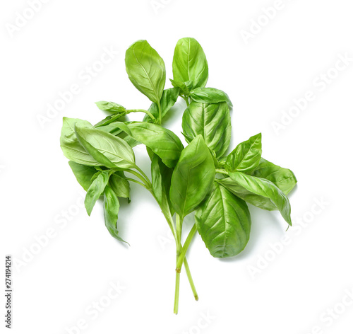 Fotografija Fresh green basil on white background