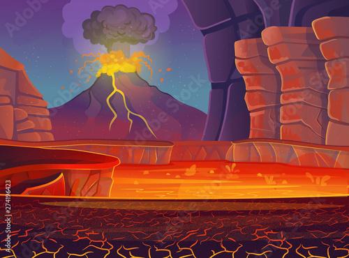 Volcano eruption. Vector cartoon illustration. Fototapet