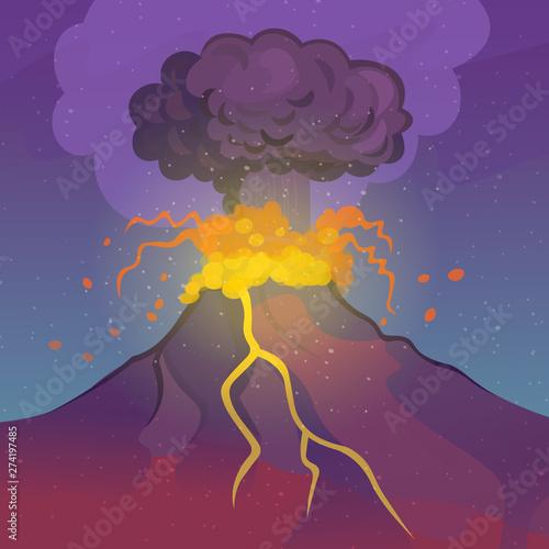 Fototapeta Volcano eruption. Vector cartoon illustration.