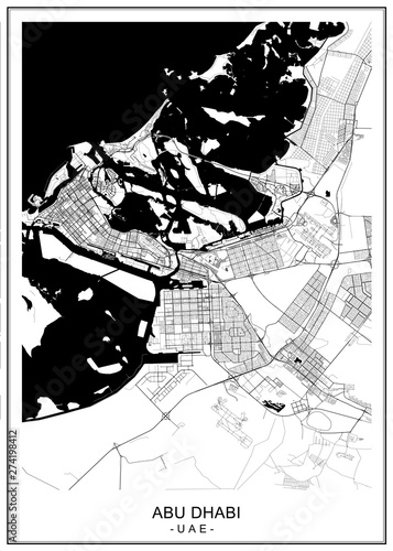 Fotografía vector map of the city of Abu Dhabi, United Arab Emirates (UAE), Emirate of Abu
