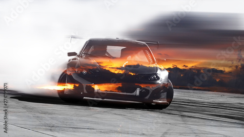 Fototapeta Double exposure sunset with car drifting, Blurred of image diffusion race drift car with lots of smoke from burning tires obraz