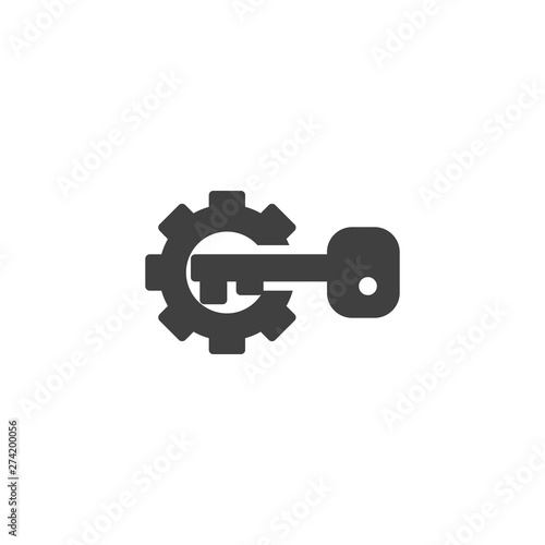 Canvas Print Gear and key vector icon