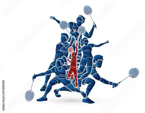 Obrazy Badminton   badminton-player-action-cartoon-graphic-vector