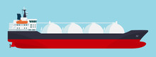 Gas Carrier Ship Isolated. Vector Flat Style Illustration.