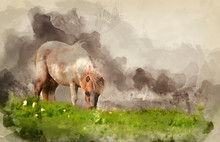 Digital Watercolor Painting Of Farm Horse In Rural Landscape In Spring