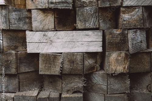 Fotografía  Wooden blocks background. Wood Texture, Ecological Background