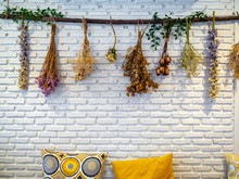 Various Vintage Colorful Dried Flowers Hanging On White Brick Wall