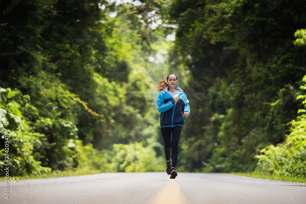 Fototapety, obrazy: woman asian she are running in the morning she in the forest