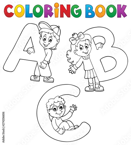 Deurstickers Voor kinderen Coloring book children with letters ABC