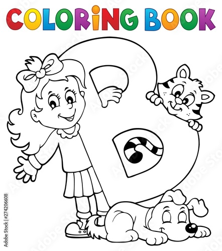 Deurstickers Voor kinderen Coloring book girl and pets by letter B