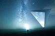 canvas print picture - Eine Person mit Kopflampe leuchtet die Sterne an, surreale Landschaft mit Tetraeder