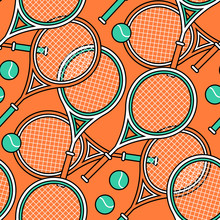 Sport Theme Seamless Pattern Of Tennis Rackets And Balls.