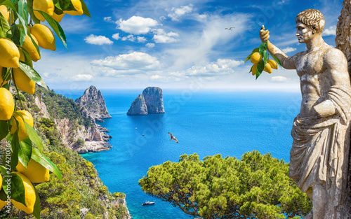 Keuken foto achterwand Bomen Collage with attractions of Capri Island, Italy