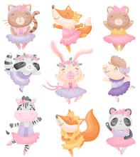 Cute Animals In Ballerina Dres...
