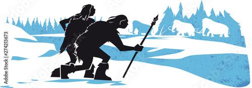 prehistoric men hunting mammoth, neanderthal, caveman, paleolithic Poster Mural XXL