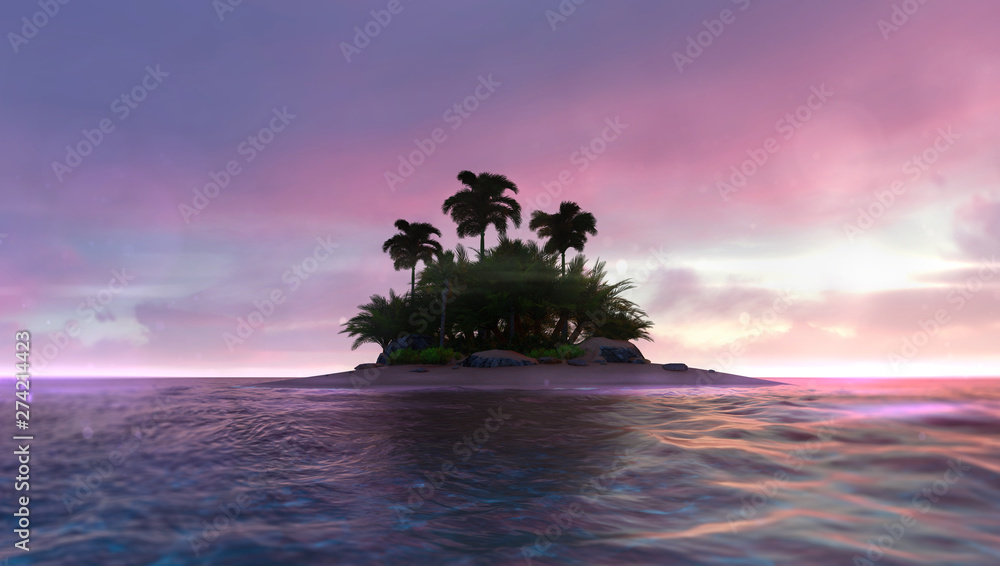 Fototapety, obrazy: Romantic red dawn sky with abandoned tropical palm isle in the middle, adventurous travelling tropical destination as 3D illustration background