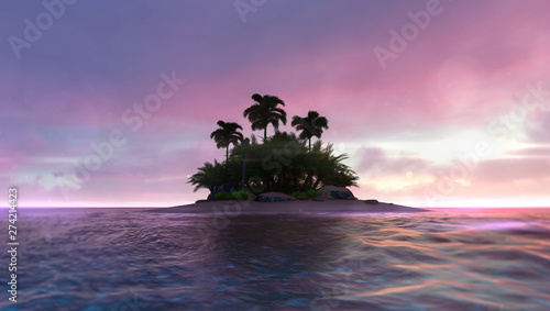 Foto auf AluDibond Aubergine lila Romantic red dawn sky with abandoned tropical palm isle in the middle, adventurous travelling tropical destination as 3D illustration background