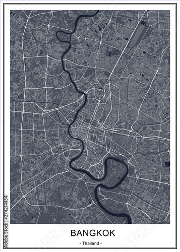 Fotografie, Obraz vector map of the city of Bangkok, Krung Thep Maha Nakhon, Kingdom of Thailand