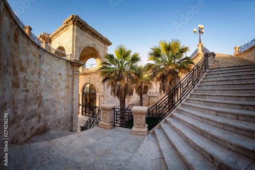 Obraz na plátne Internal staircase of Bastione Saint Remy fortification, after the redevelopment, at sunrise  in Cagliari - Castello district