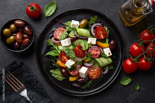 Carta da parati Fresh greek salad with tomato, cucumber, bel pepper , olives and feta cheese on