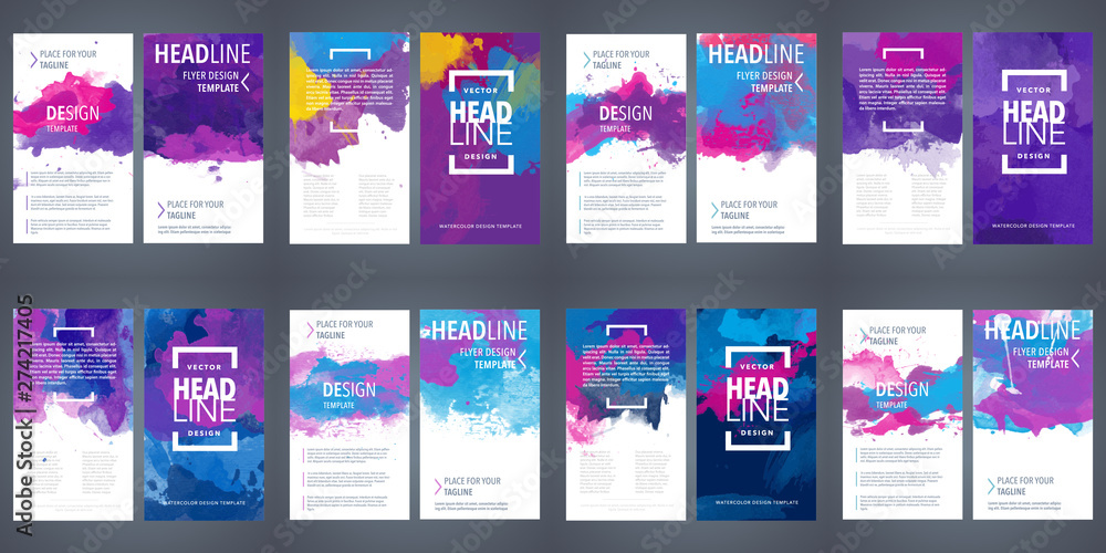 Fototapeta PrintBrochure template layout, flyer cover design with watercolor background.