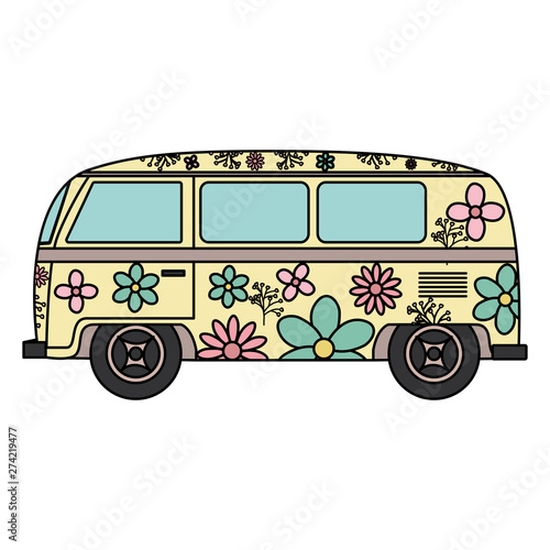hippie van with floral print icon Wallpaper Mural