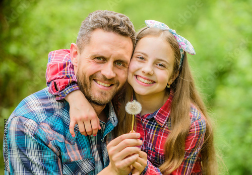 daughter and father with dandelion flower Canvas-taulu