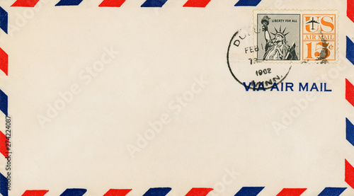 Fotografering  Vintage Air Mail Envelope : with stamps, marks and postal elements