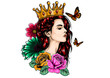 Beautiful girl in crown. Girl with long hair. Vector illustration for a postcard or a poster, print for clothes.
