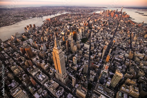 Aerial view over Empire State Building, Manhattan