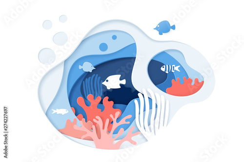 Paper cut underwater ocean background with coral reef, fishes, seaweed, bubbles and waves Fototapeta