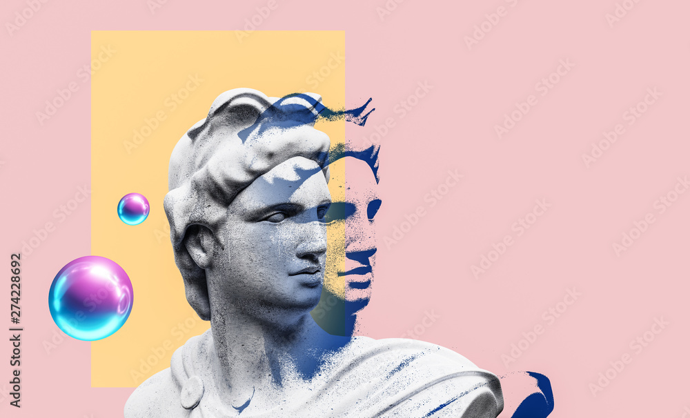 Fototapety, obrazy: Apollo style design background vaporwave concept. 3d Rendering.