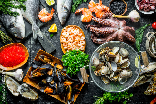 Fotografie, Obraz  Healthy diet food. A variety of fresh seafood.