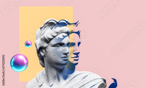Canvastavla  Apollo style design background vaporwave concept. 3d Rendering.