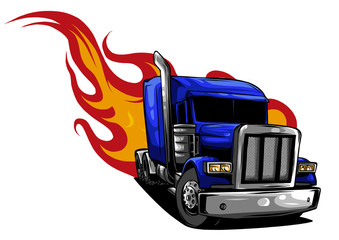 Vector Cartoon Semi Truck. ...