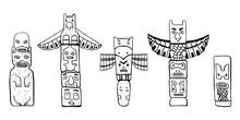 Native American Traditional Totem Poles. Vector Outline Hand Drawn Doodle Sketch Illustration Set. Group Of Four Carved Wooden Figures