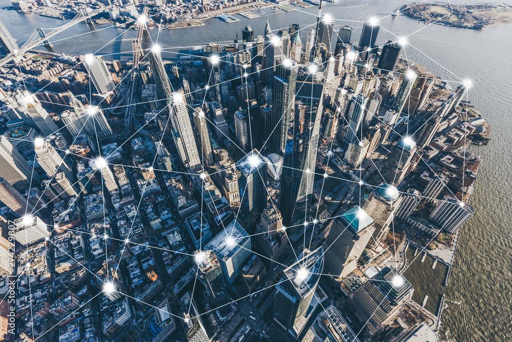 Fototapety, obrazy: Blockchain Concept and City Network of Manhattan